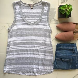 Banana Republic Grey And White Striped Tank Top